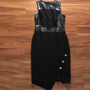 Marciano Black Dress With Faux Leather Trim Size 8